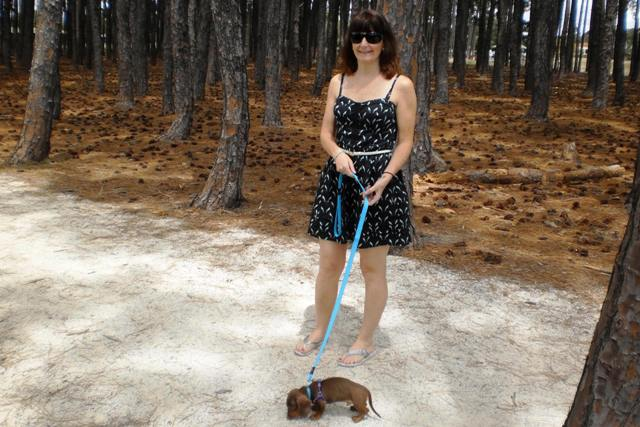 Female owner standing and holding Dachshund puppy on a lead