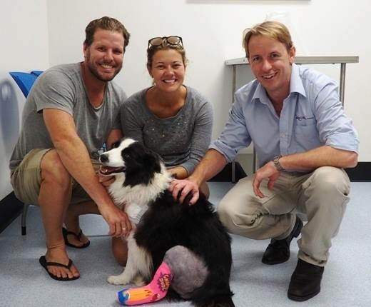 Three people crouching with Border Collie
